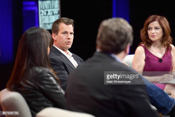 Partner at Greylock Partners Reid Hoffman CoCreators and Executive Producers of 'Westworld' Lisa Joy Jonathan Nolan writer Maureen Dowd speak onstage...