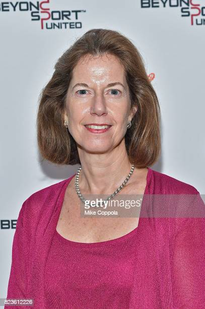Partner Finsbury Miriam Saprio poses for a photo at the Beyond Sport United Conference on July 27 2017 in New York City