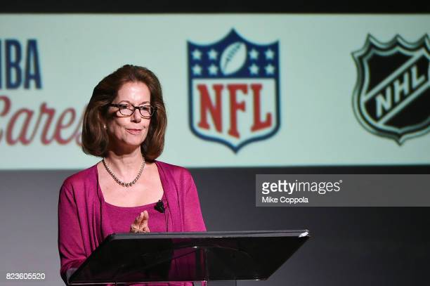 Partner Finsbury Miriam Saprio speaks at the Beyond Sport United Conference on July 27 2017 in New York City
