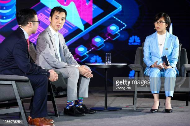 Partner of Antler Hongye Wang Head of Research China for UBS Securities Co Limited Eric Lin and Evelyn Cheng of CNBC speak during Day 1 of CNBC East...