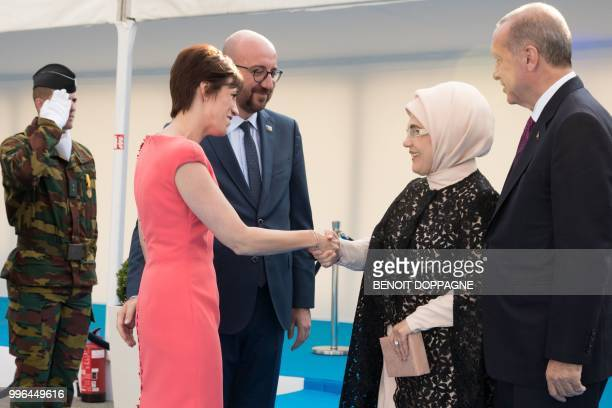 Partner of Michel Amelie Derbaudrenghien and Belgian Prime Minister Charles Michel welcomes First Lady of Turkey Emine Erdogan and President of...