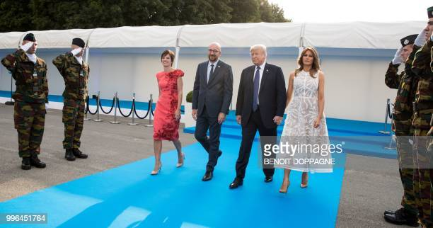 Partner of Michel Amelie Derbaudrenghien and Belgian Prime Minister Charles Michel welcomes US President Donald Trump and First Lady of the US...