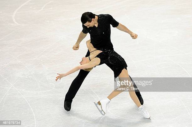 Partners Alexa Scimeca and Christopher Knierim compete in the Championship Pairs Short Program Competition during day 1 of the 2015 Prudential U.S....
