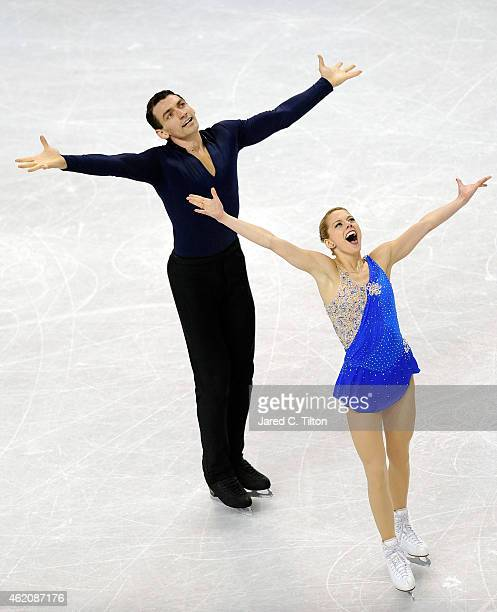 Partners Alexa Scimeca and Christopher Knierim compete in the Championship Pairs Free Skate Program Competition during day 3 of the 2015 Prudential...