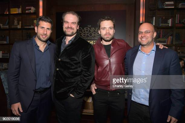 ICM Partners CoHead of Talent Adam Schweitzer actors David Harbour and Sebastian Stan and ICM Partners Managing Partner Chris Silbermann attend ICM...