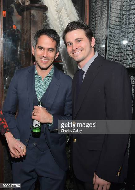 Partners CoHead of Talent Dar Rollins and actor Jason Ritter attend ICM Partners Evening Before the Golden Globes on January 6 2018 in Los Angeles...