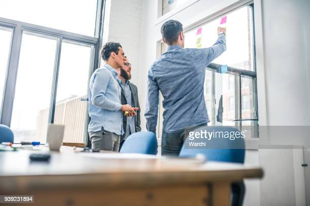 Partners debating business Ideas with sticky notes on the window