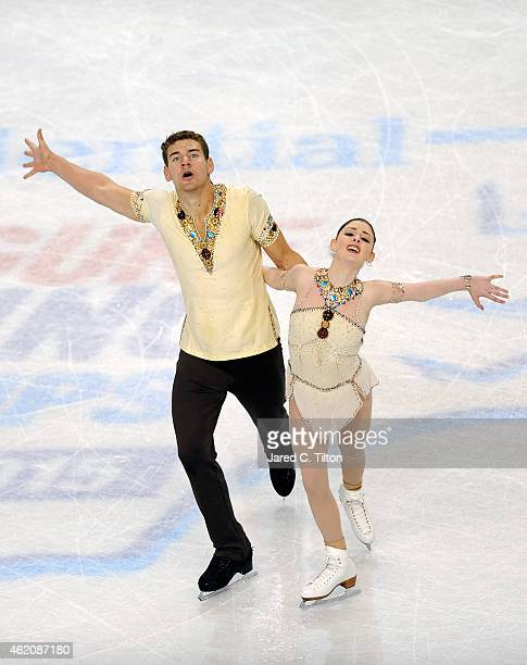 Partners Haven Denney and Brandon Frazier compete in the Championship Pairs Free Skate Program Competition during day 3 of the 2015 Prudential US...
