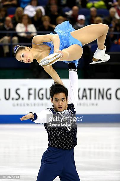 Partners Madeline Aaron and Max Settlage compete in the Championship Pairs Short Program Competition during day 1 of the 2015 Prudential US Figure...