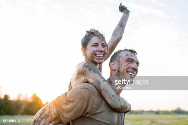 partners - obstacle course stock photos and pictures