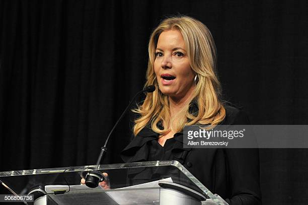 Partowner and president of the Los Angeles Lakers Jeanie Buss speaks during the 12th Annual Lakers AllAccess at Staples Center on January 25 2016 in...