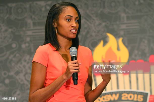 Partpic founder Jewel Burks speaks onstage at the Accelerator Presentation during the 2015 SXSW Music Film Interactive Festival at Hilton Austin on...
