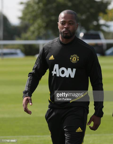 Partrice Evra of Manchester United U18s in action during the U18 Premier League match between Manchester United U18s and Derby County U18s at Aon...