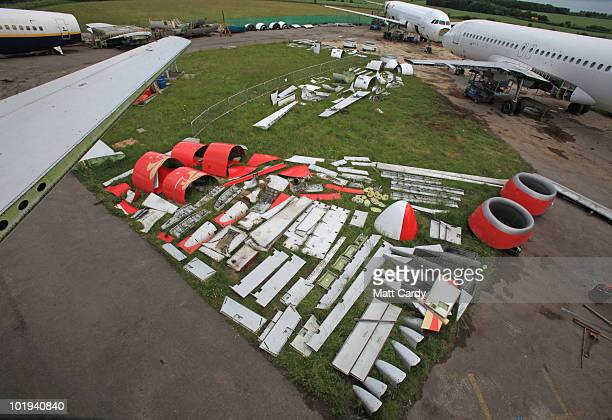 Parts and panels on from a 737 600 currently being dismantled are laid out on the ground on June 9, 2010 in Kemble, England. The aircraft is one of a...