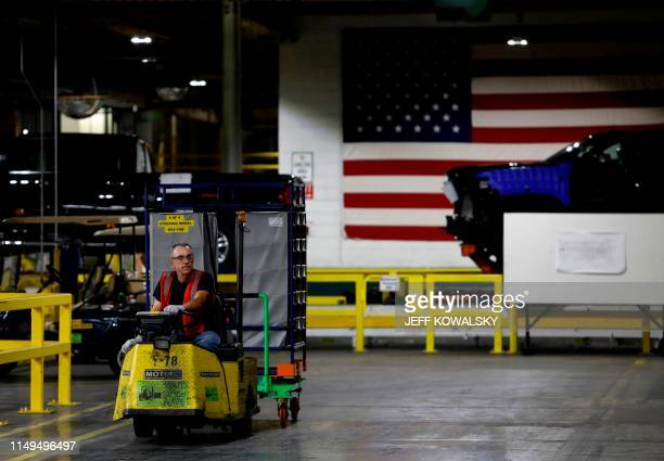 Parts are delivered to the line at General Motors Flint Assembly plant on June 12, 2019 in Flint, Michigan. - GM announced the second major expansion...