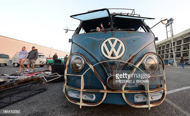 Parts are displayed beside this 1959 VW bus at 'Das OCTO Fest 2013' a swap and display gathering for enthusiasts and owners of 1967 and earlier...
