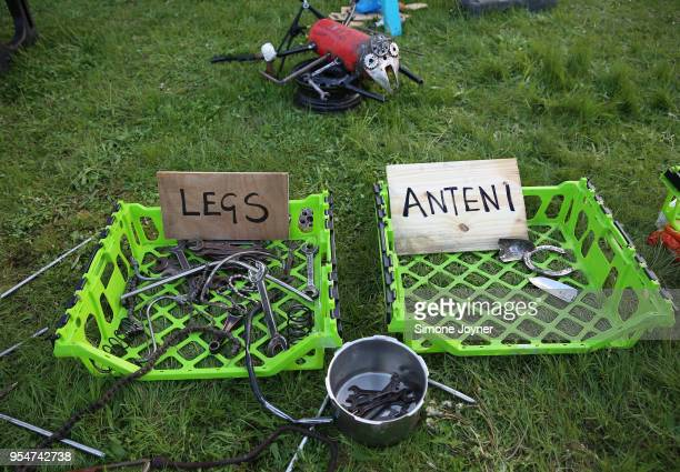 Parts are seen laid out as the Arcadia Crew hold a workshop with school children at Queen Elizabeth Park on May 4 2018 in London United Kingdom Local...