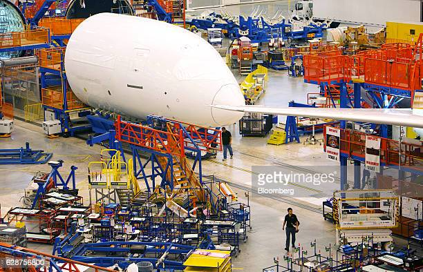 Parts for Boeing Co Dreamliner 787 planes are seen on the production line at the company's final assembly facility in North Charleston South Carolina...