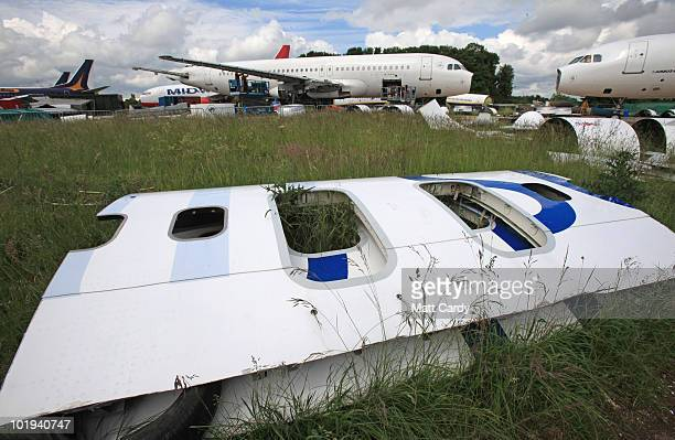 Parts from a aircraft at Air Salvage International are seen as it is dismantled on June 9, 2010 in Kemble, England. The aircraft is one of a number...