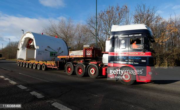 Parts of a Tunnel Boring Machine are moved by road convoy to the Sirius Minerals site at Wilton on Teesside prior to being assembled over coming...