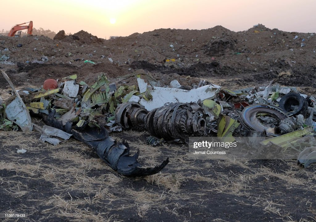Workers Attend The Crash Site Of Ethiopian Airlines ET302 Flight To Nairobi : News Photo