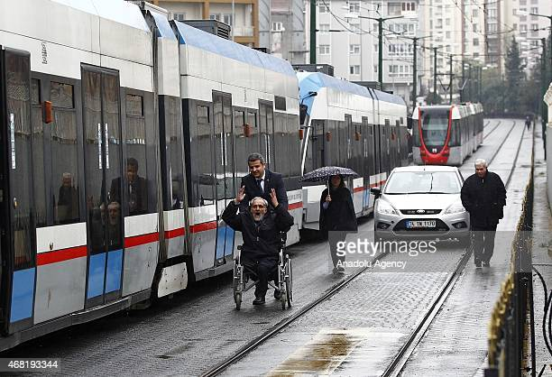 Parts of the metrobus system are shut down when a major power outage hit cities and provinces across Turkey on Tuesday 31st March 2015 including the...