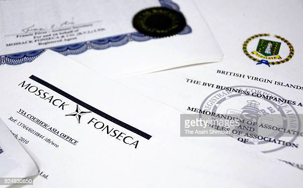 Parts of the Panama Paper documents containing documents of Mossack Fonseca are seen at the Asahi Shimbun headquarters on April 26 2016 in Tokyo...