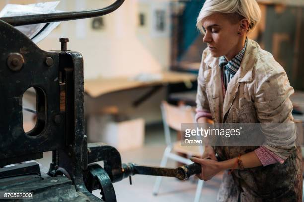 part-time job in etching and lithograph workshop - etching stock pictures, royalty-free photos & images