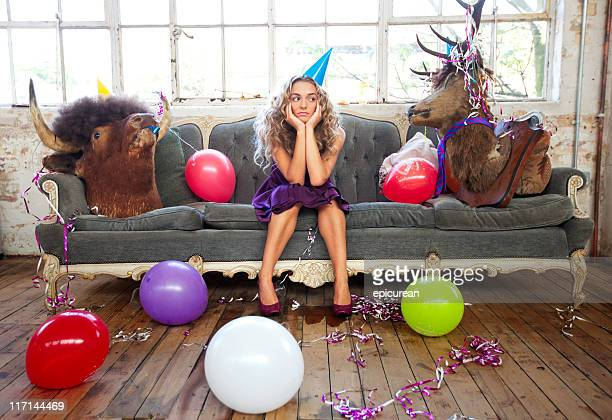 party animals and beautiful young woman - bull animal stock photos and pictures