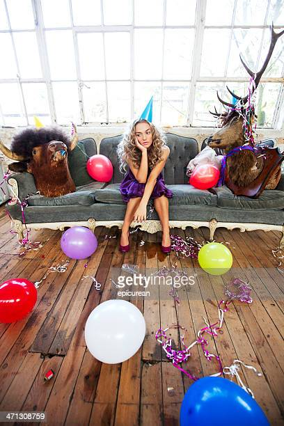 party animals and beautiful young woman - morning after party stock pictures, royalty-free photos & images