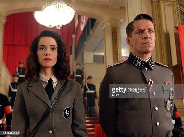 TIMELESS Party At Castle Varlar Episode 103 Pictured Abigail Spencer as Lucy Preston Sean Maguire as Ian Fleming