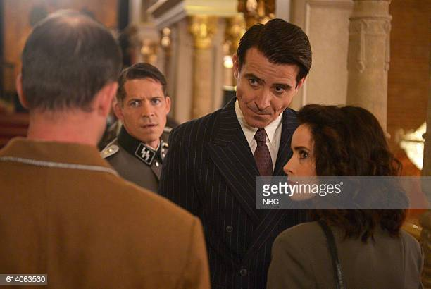 TIMELESS 'Party At Castle Varlar' Episode 103 Pictured Sean Maguire as Ian Fleming Goran Visnjic as Garcia Flynn Abigail Spencer as Lucy Preston