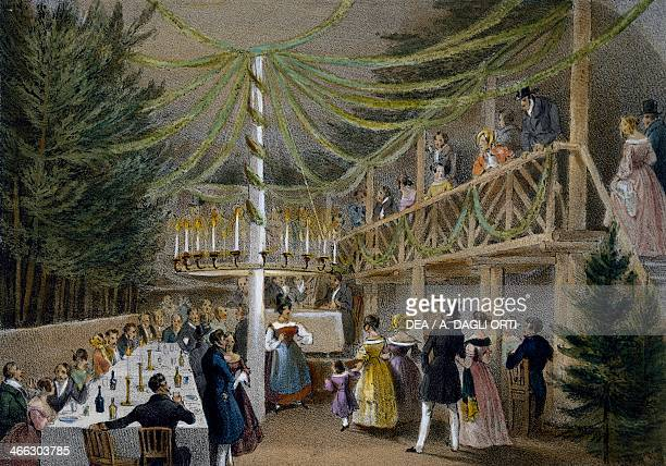 Party at Hotel Europa in Vienna print Austria 19th century