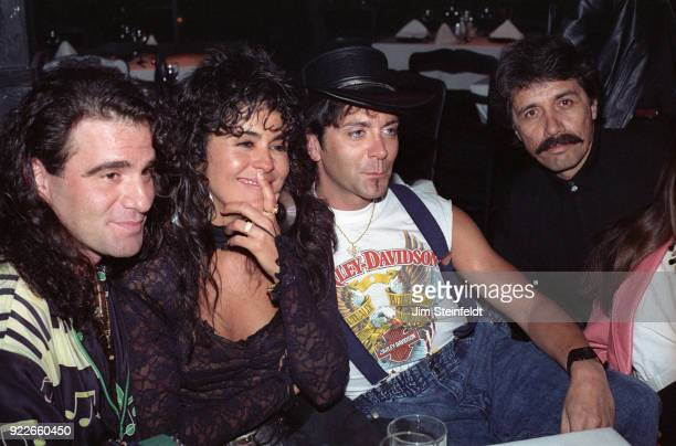 Party at Woody's Miami Beach featuring Maria Conchita Alonso Tico Torres Alec John Such and Edward James Olmos in 1988