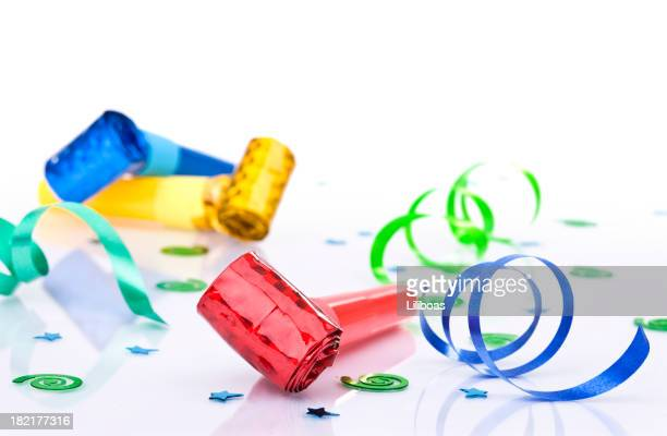 party blowers - party blower stock pictures, royalty-free photos & images