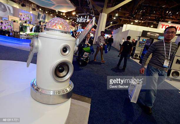 Party Bot bluetooth enabled speaker with lights is on display at the Ion booth during the 2014 International CES at the Las Vegas Convention Center...