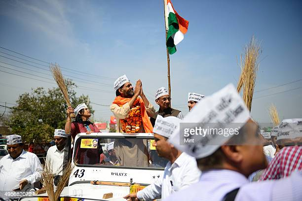 AAP party candidate from Gurgaon Lok Sabha seat Yogendra Yadav going for filing the Nomination papers on March 20 2014 in Gurgaon India