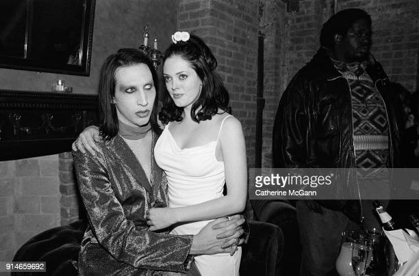 """Party celebrating publication of Marilyn Manson's book """"The Long Hard Road Out of Hell"""" Pictured in New York City NY Pictured LR Marilyn Manson and..."""
