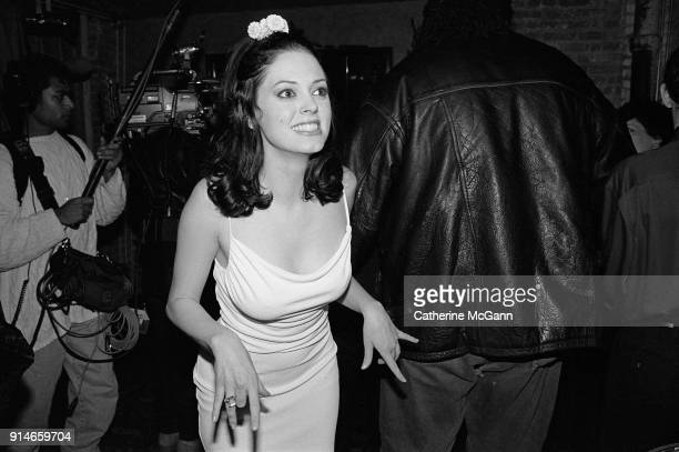 """Party celebrating publication of Marilyn Manson's book """"The Long Hard Road Out of Hell"""". Pictured in New York City, NY. Pictured: Rose McGowan"""