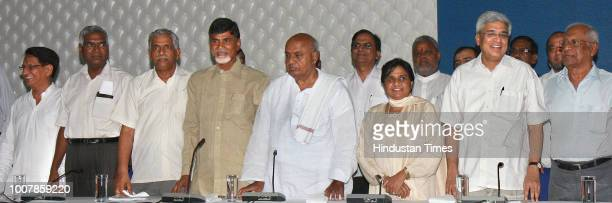 RLD Party Chief Ajit Singh CPI leader D Raja Forward Bloc General Secretary Debabrata BiswasTDP chief Chandrababu Naidu JD chief H D Deve Gowda BSP...