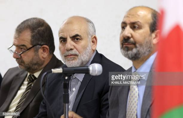 Party chief of the Islamic Action Front Mohamed Zyoud , his deputy Ali Abu al-Sukkar , and the Party spokesman Murad Adayleh attend a press...