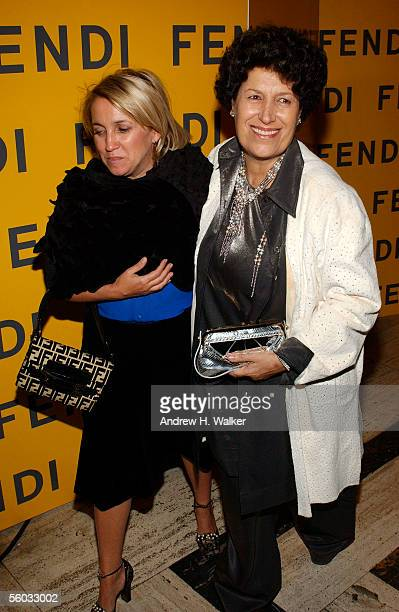 Party cohost Silvia Fendi and Carla Fendi attend the Fendi 80th Anniversary Party Hosted By Karl Lagerfeld on October 29 2005 in New York City
