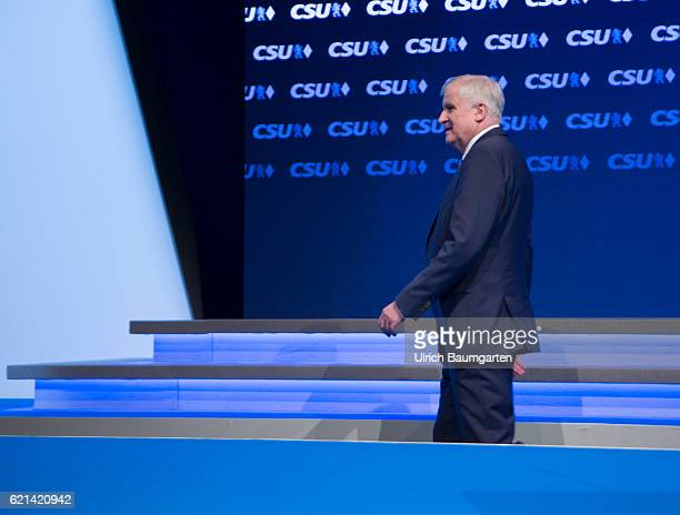 Party conference of the Christian Social Union in Munich Horst Seehofer Bavarian Prime Minister leaves the stage after his speech