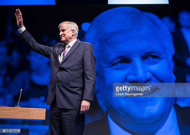 Party conference of the Christian Social Union in Munich Horst Seehofer Bavarian Prime Minister after his speech Seehofer portrait on the convas in...