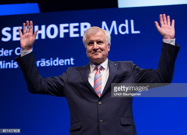 Party conference of the Christian Social Union in Munich Horst Seehofer Bavarian Prime Minister waving after his speech after his speech