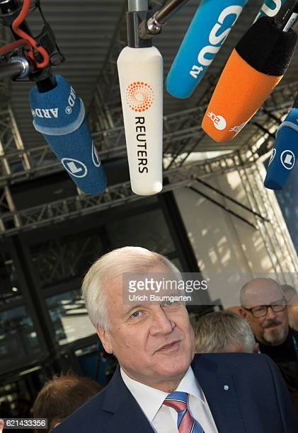 Party conference of the Christian Social Union in Munich Horst Seehofer Bavarian Prime Minister and the microphones of the journalists
