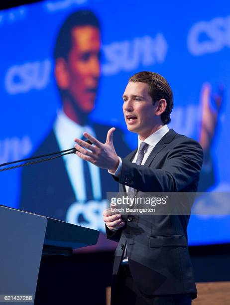 Party conference of the Christian Social Union in Munich Sebastian Kurz Austrian Federal Minister for Europe Integration and Exterior during his...