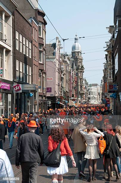Party Crowd on Queen's Day in Amsterdam, Netherlands