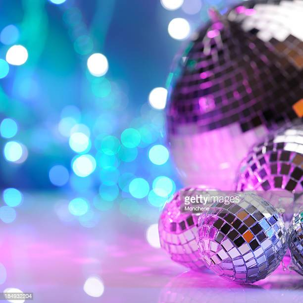 party decoration with disco balls - disco ball stock photos and pictures