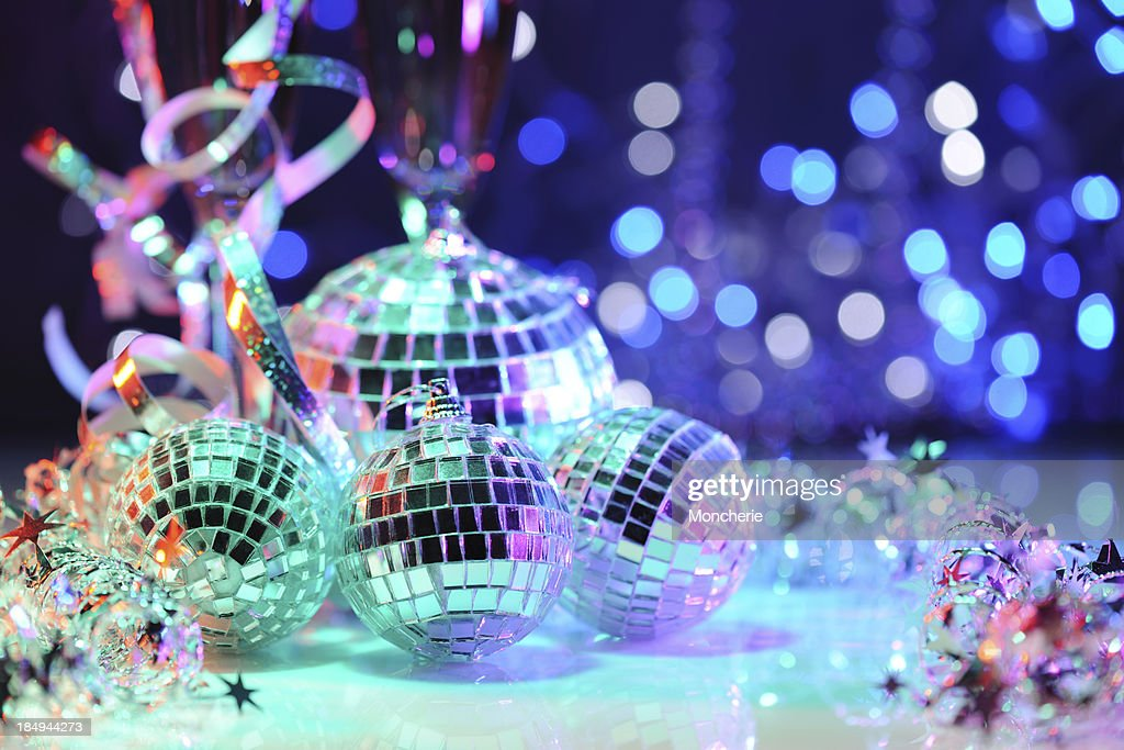 Party decoration with disco balls : Stock Photo
